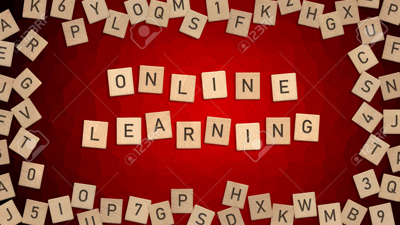 Top view of word Online Learning written with wooden letters with scattered alphabet letters in background - 172251668
