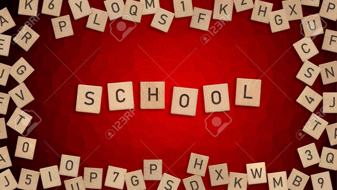 Top view of word School written with wooden letters with scattered alphabet letters in background - 172251700