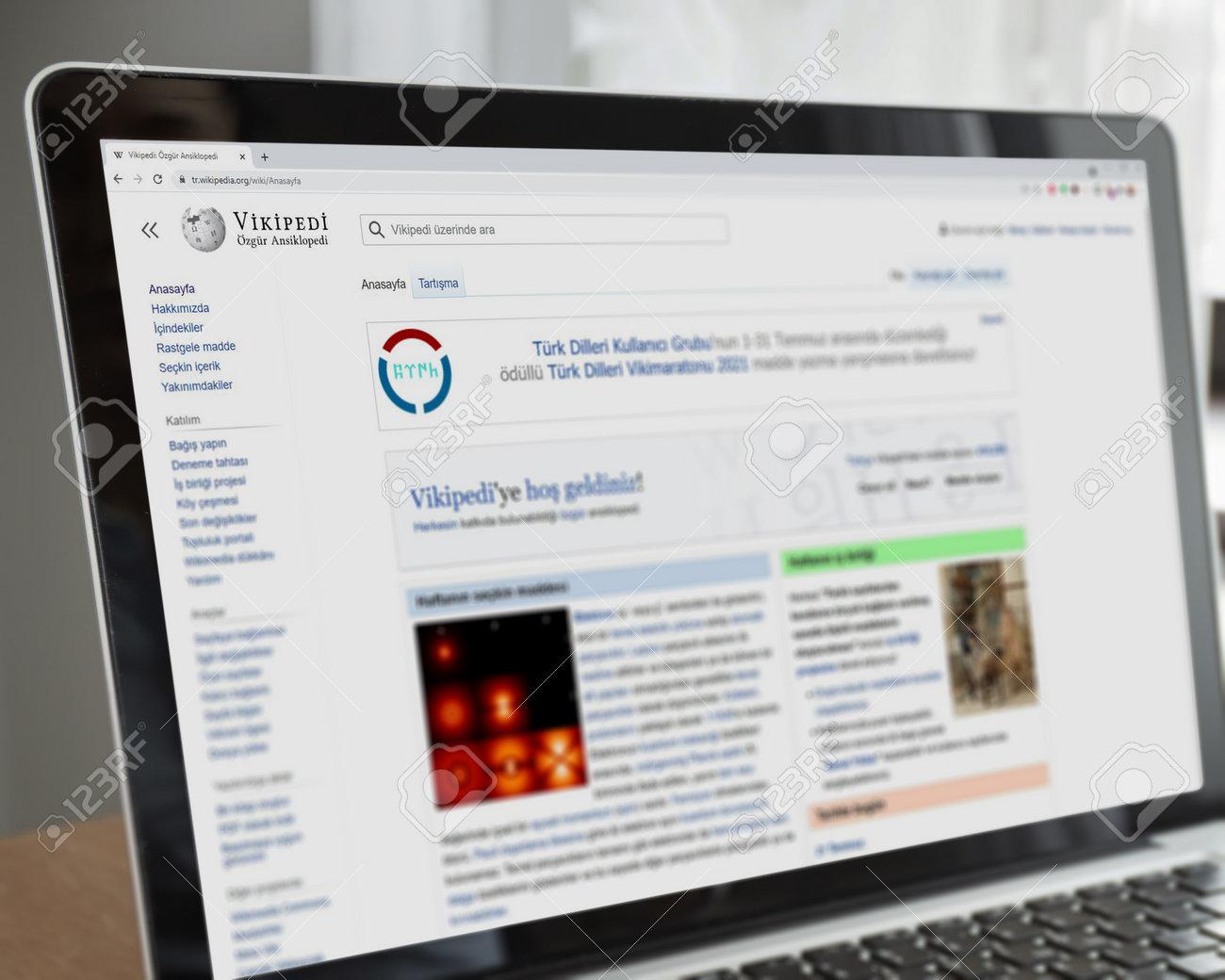 Illustrative Editorial of Turkish Vikipedi website homepage. Vikipedi logo visible on laptop screen. - 172016948