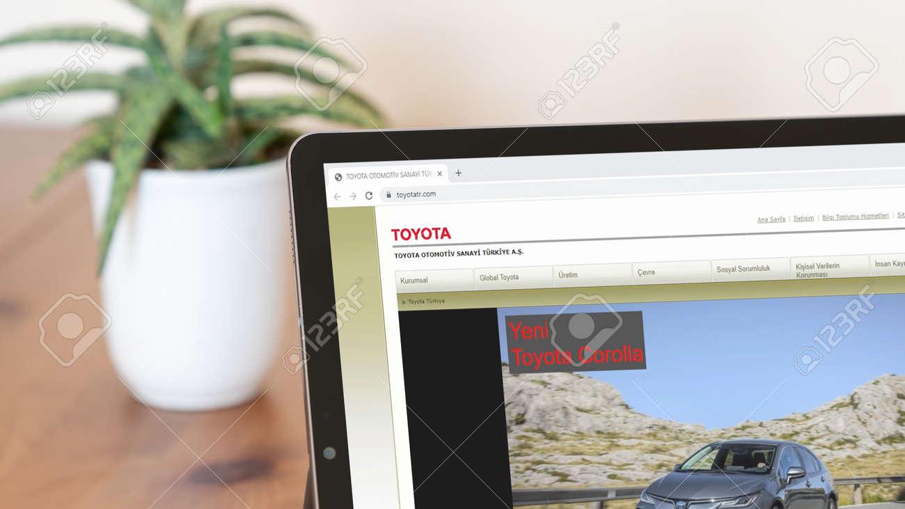 Istanbul, Turkey - July 2021: Illustrative Editorial screenshot of Turkish Toyota Otomotiv homepage. Toyota Otomotiv logo visible on a digital screen close-up - 172089245