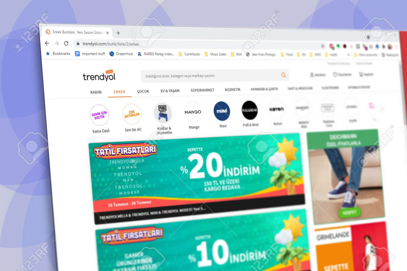 Istanbul, Turkey - July 2021: Illustrative Editorial screenshot of Turkish Trendyol e-commerce website homepage. Trendyol logo visible with blurred out of focus content done intentionally - 172089248