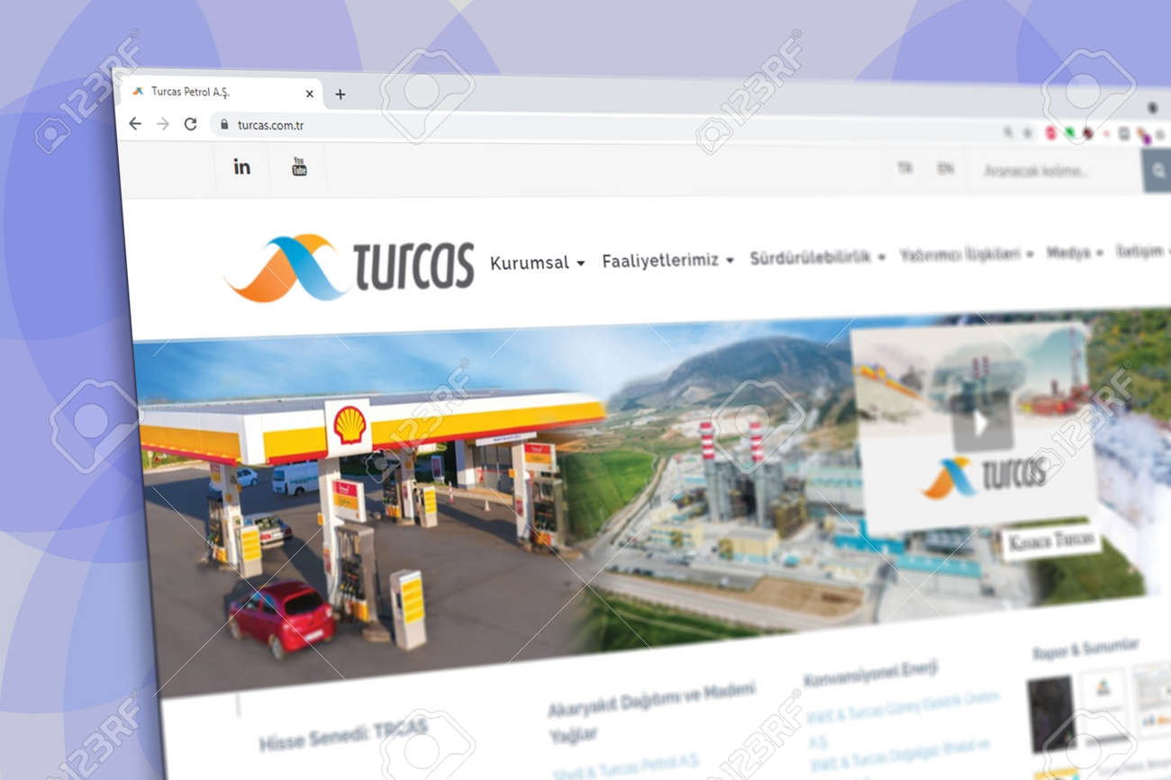 Istanbul, Turkey - July 2021: Illustrative Editorial screenshot of Turkish Turcas Petroleum company homepage. Turcas Petroleum logo visible with blurred out of focus content done intentionally - 172089242