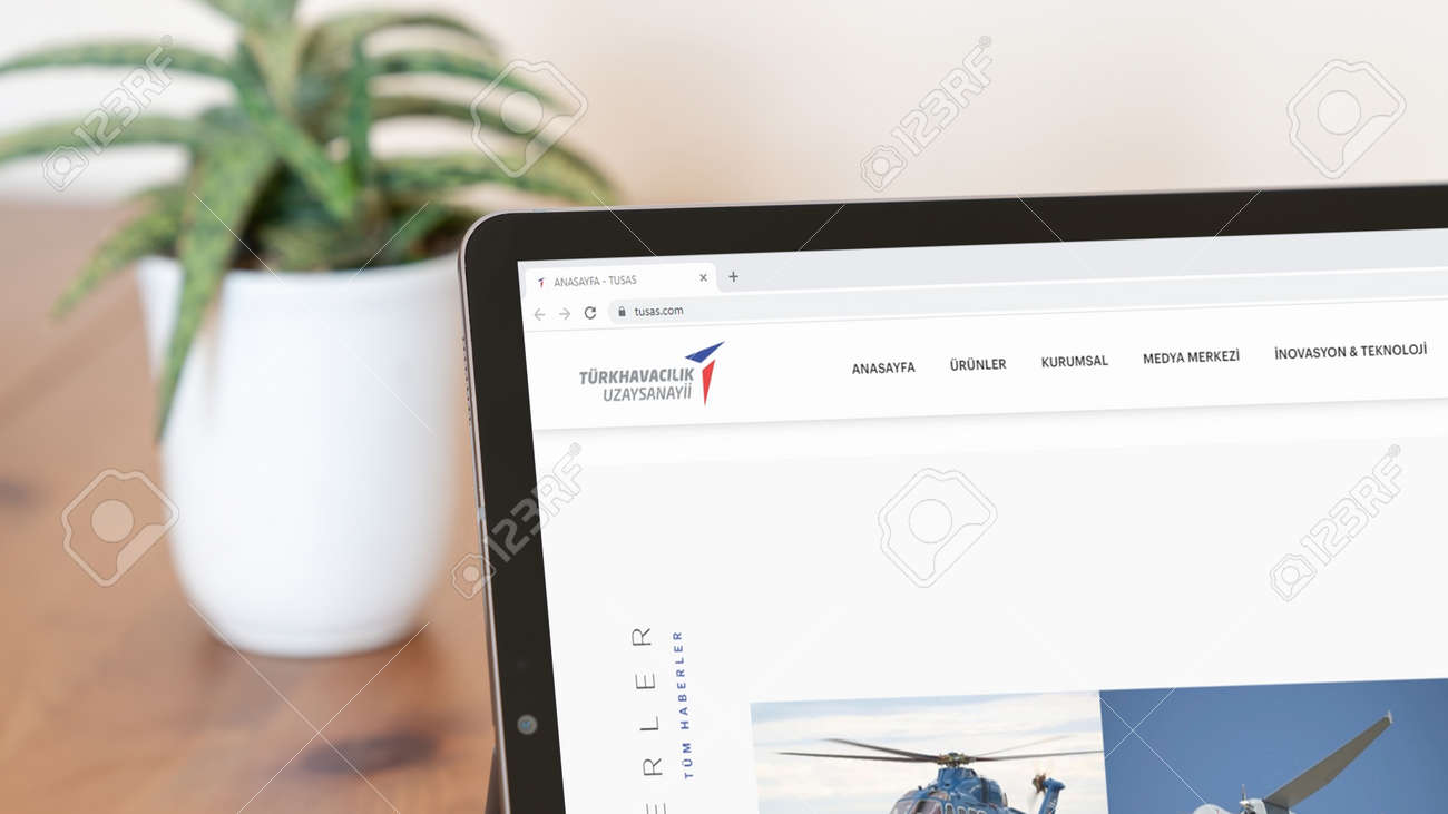 Istanbul, Turkey - July 2021: Illustrative Editorial screenshot of Turkish Aerospace Industries TUSAS homepage. TUSAS logo visible on a digital screen close-up - 172089240