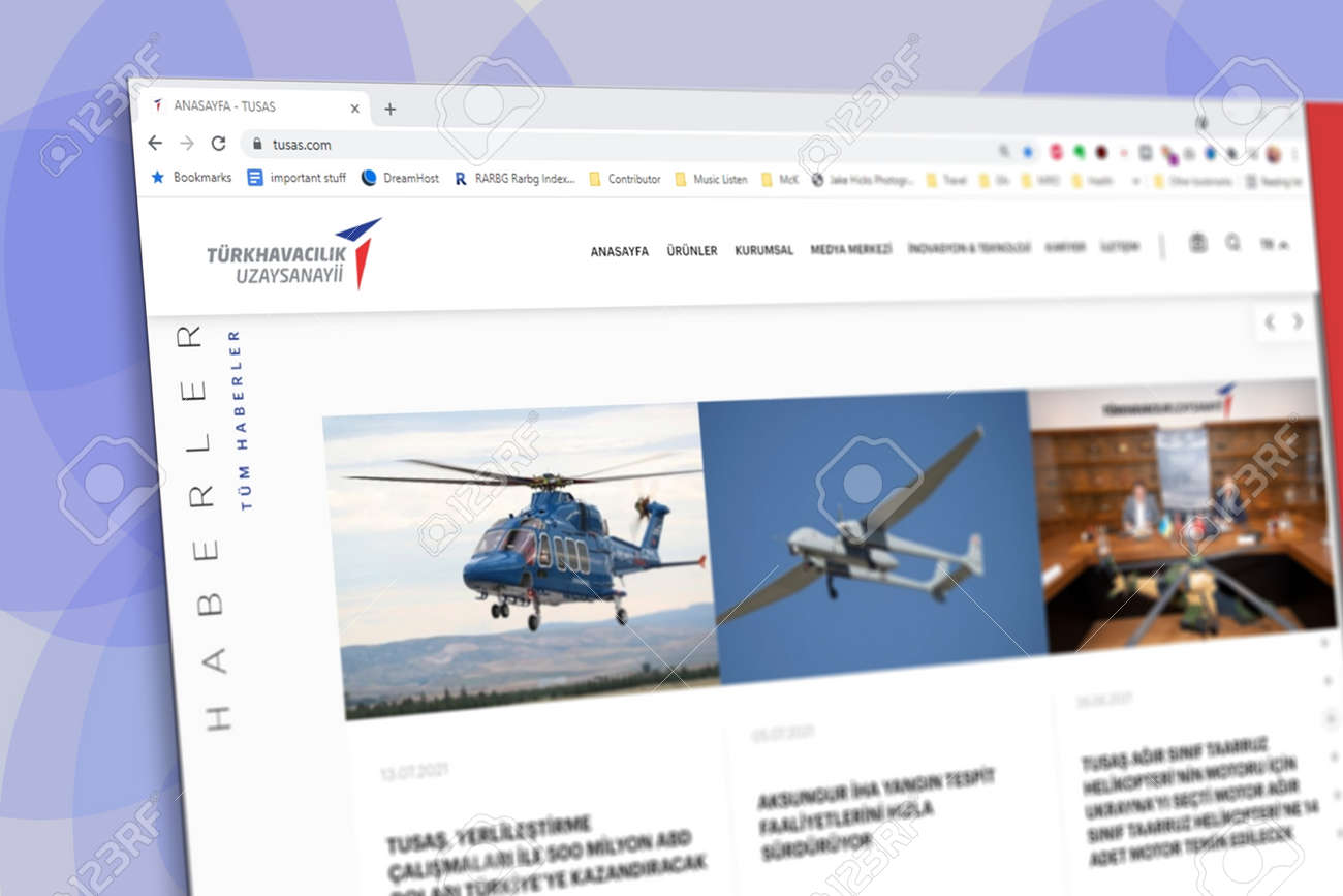 Istanbul, Turkey - July 2021: Illustrative Editorial screenshot of Turkish Aerospace Industries TUSAS homepage. TUSAS logo visible with blurred out of focus content done intentionally - 172089239