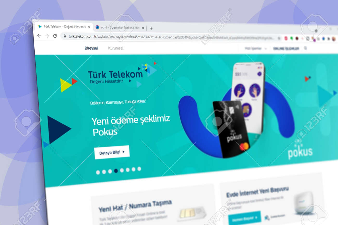 Istanbul, Turkey - July 2021: Illustrative Editorial screenshot of Turkish Turk Telekom website homepage. Turk Telekom logo visible with blurred out of focus content done intentionally - 172089236