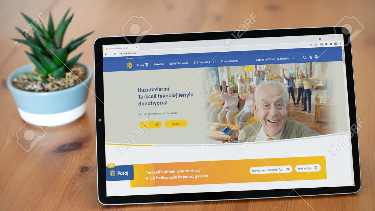 Istanbul, Turkey - July 2021: Illustrative Editorial screenshot of Turkish Turkcell mobile communications company homepage. Turkcell logo visible on a tablet screen. - 172089246