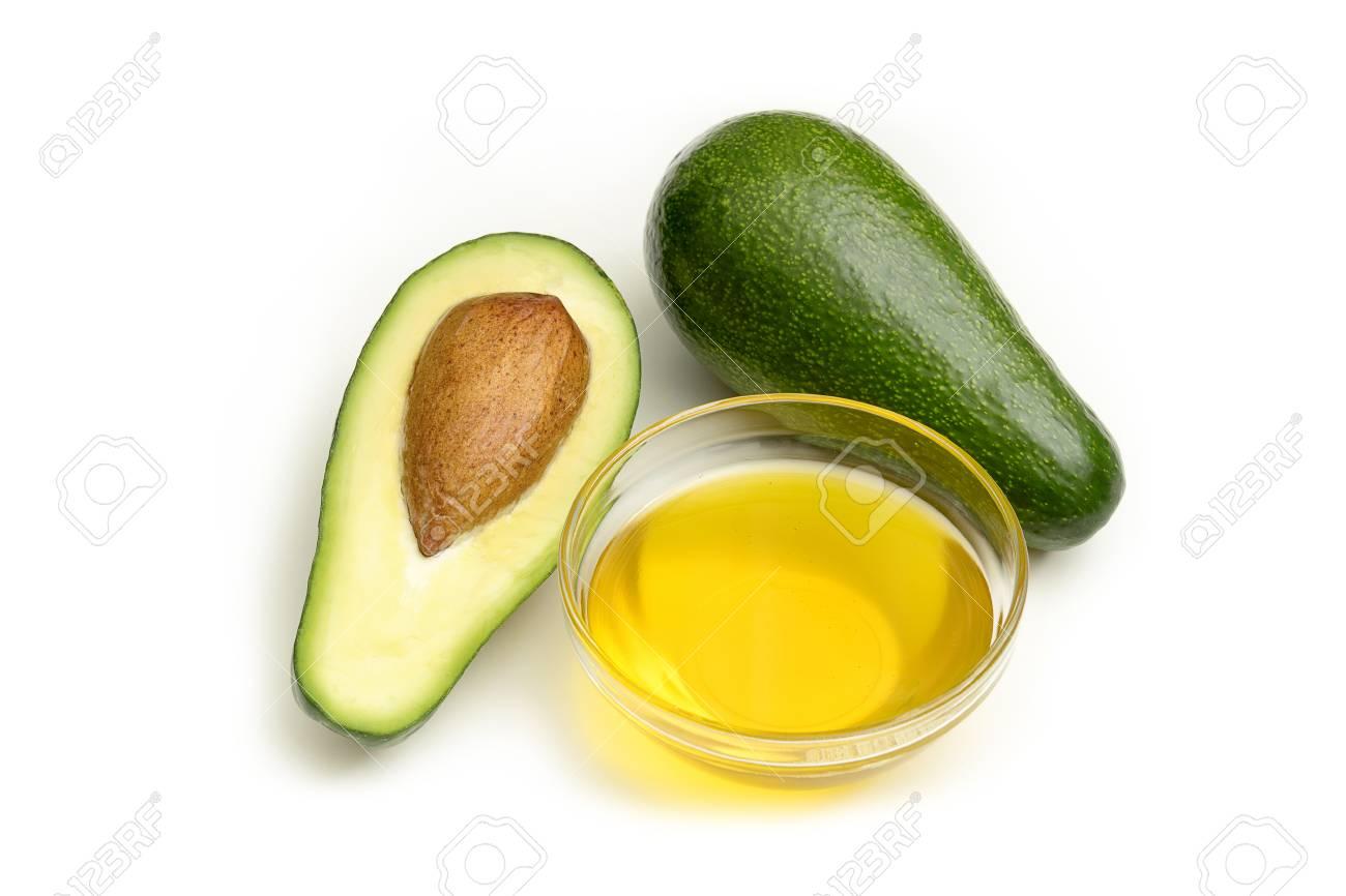 Avocado oil isolated on white background, studio shot