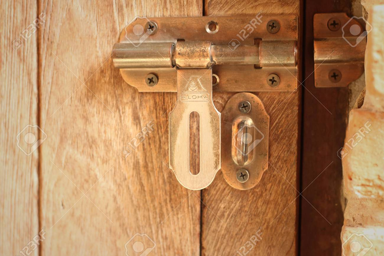 lock of the door locked with padlock. Stock Photo - 41779760 & Lock Of The Door Locked With Padlock. Stock Photo Picture And ...