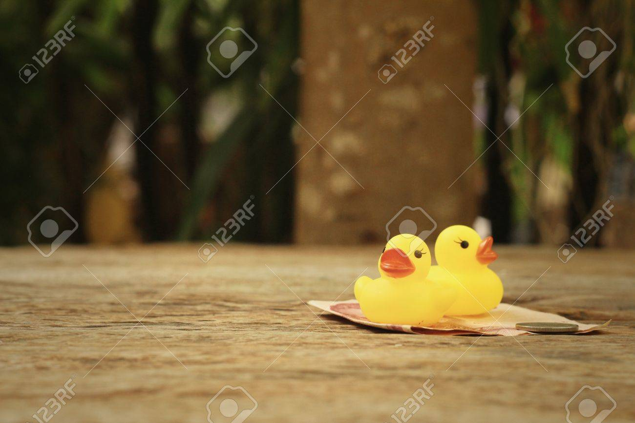 Yellow Rubber Duck With Money Of Thai Bath. Stock Photo, Picture And ...