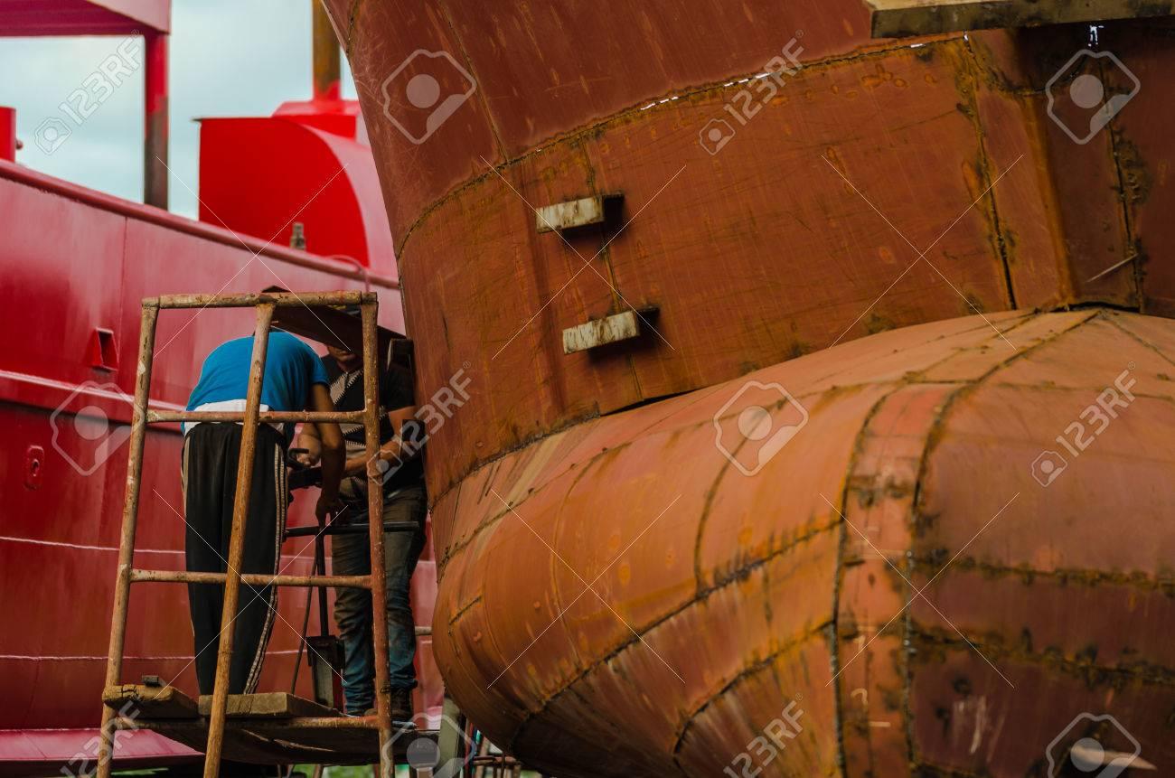 Fishing ship building yard workers