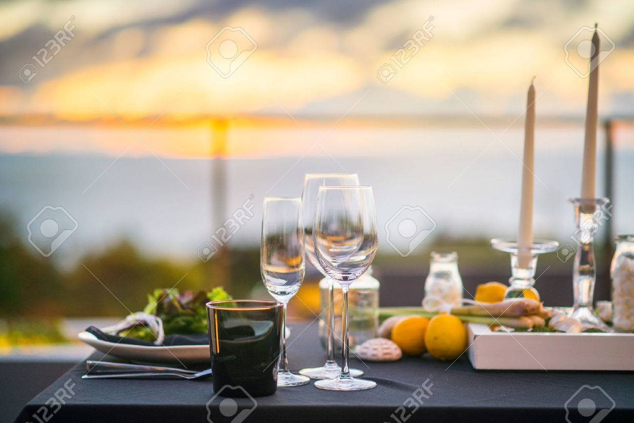 Empty Glasses Set In Restaurant Dinner Table Outdoors At Sunset Stock Photo Picture And Royalty Free Image Image 31592309