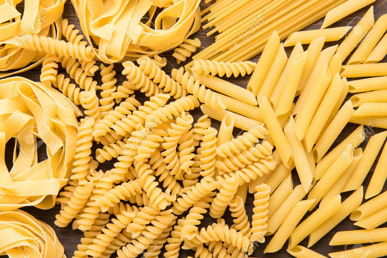 Mixed Dried Italian Pasta Collection. Dry Pasta Background. Stock ...