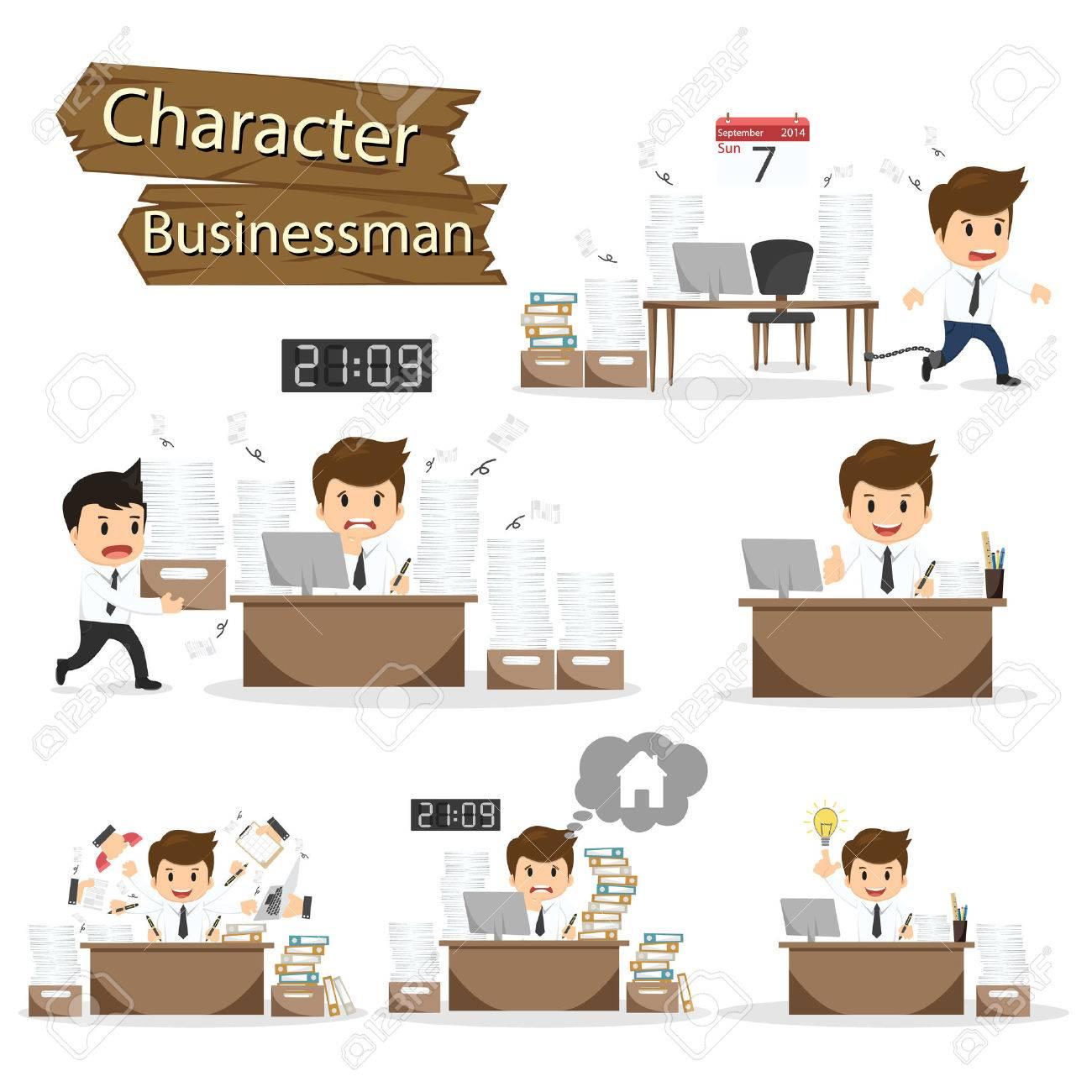 Businessman character on office worker set vector illustration. - 45588495