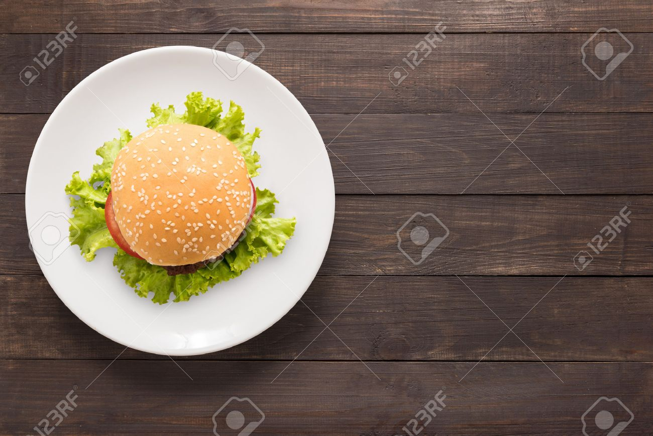 Top View Bbq Burger On White Dish On Wooden Background Stock Photo Picture And Royalty Free Image Image 55643649