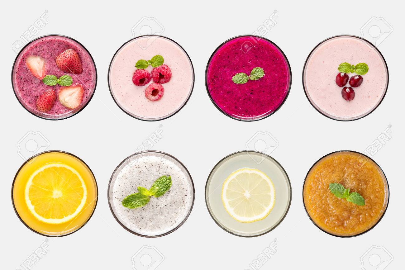 Design concept of mockup fruit smoothie and fruit juice set isolated on white background. - 61706953