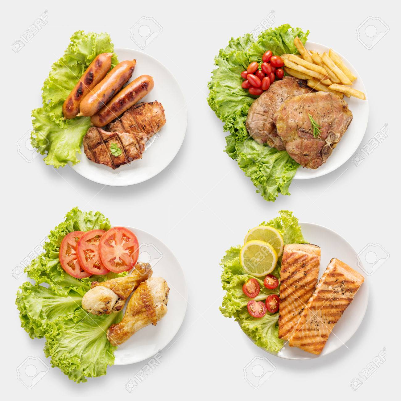Design of mockup BBQ grilled sausages, chicken, salmon, pork chop, beef set isolated on white background. Clipping Path included on white background. - 63789834