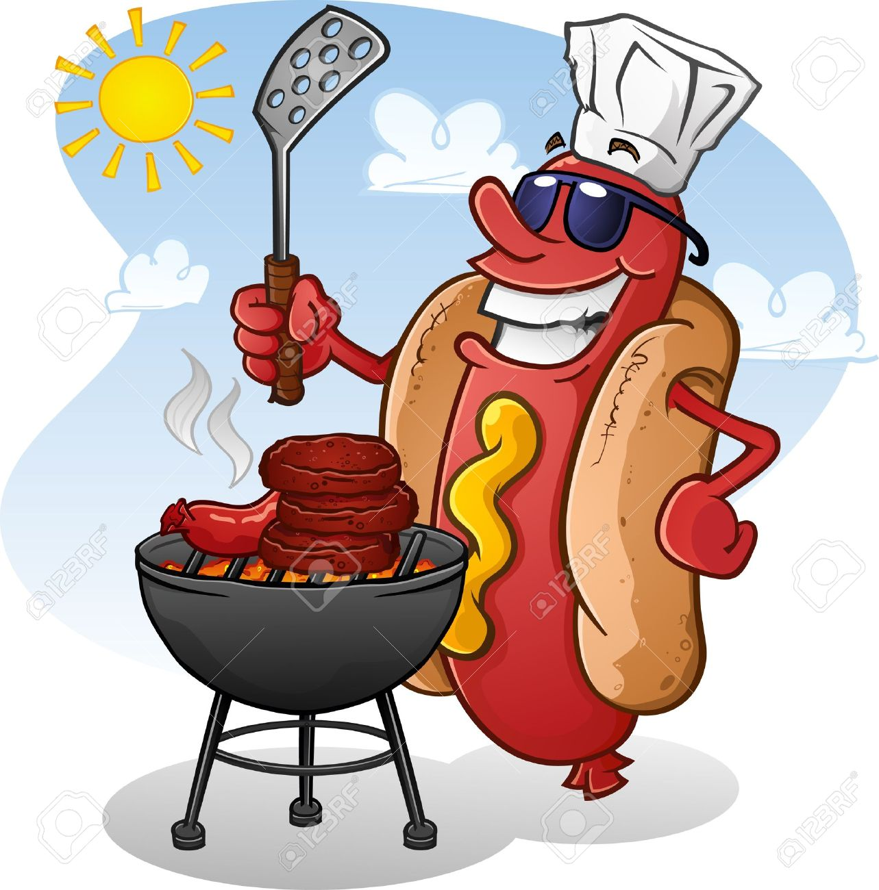 Cookout border clipart hot dog cookout invite stock vector art - Grilling Hot Dog Cartoon Character Grilling Burgers