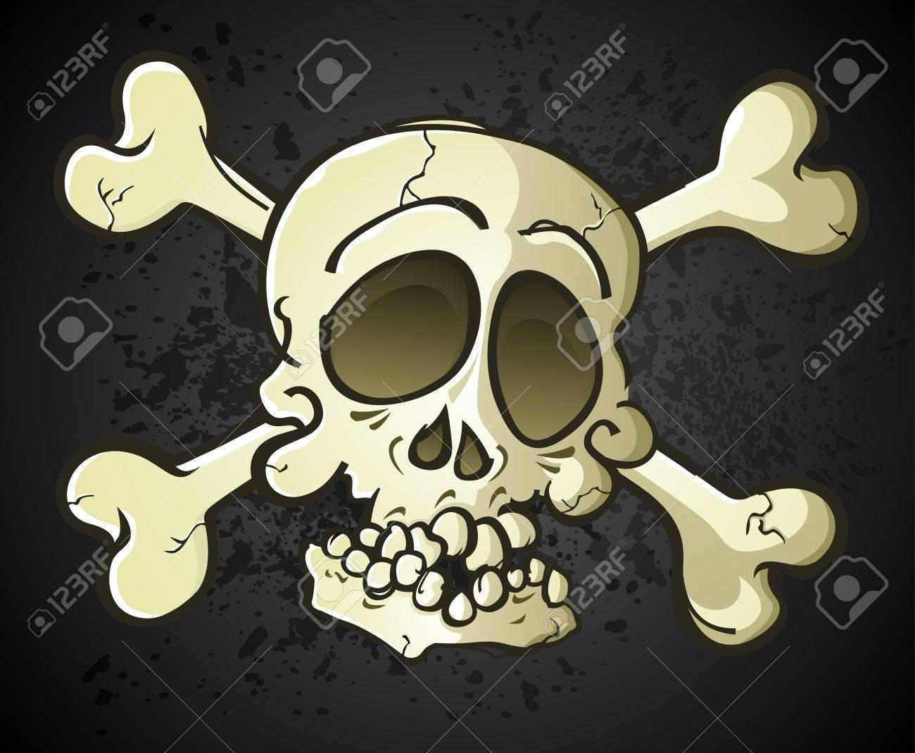 Skull and Crossbones Jolly Roger Cartoon Character Stock Vector - 20992148