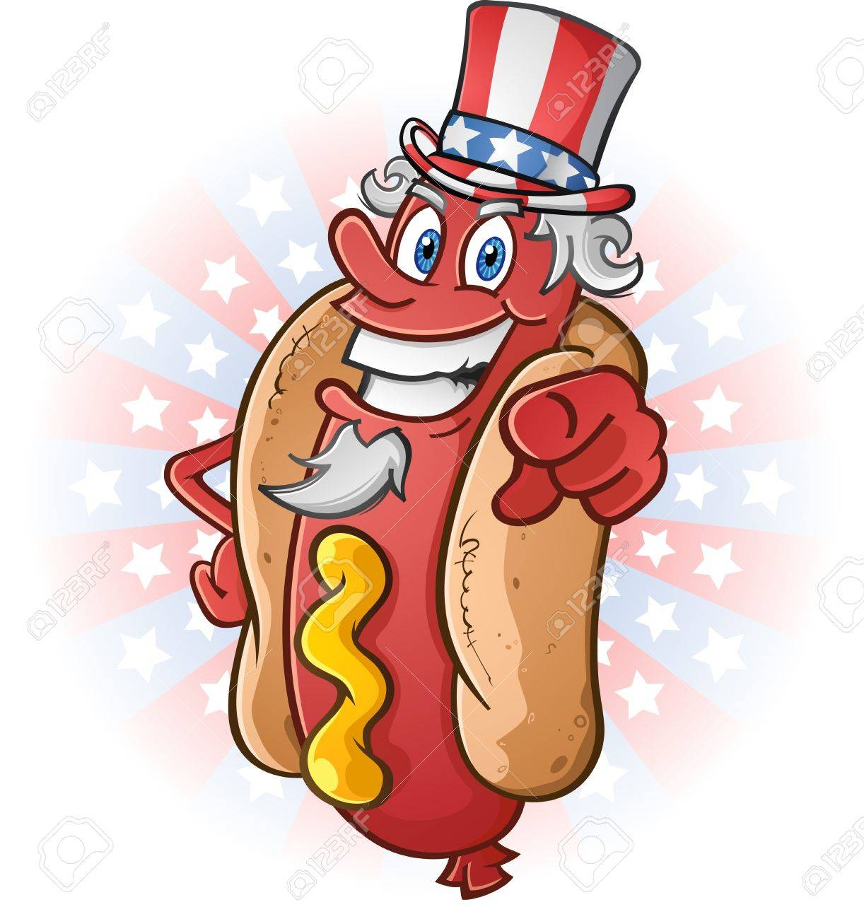 Cookout border clipart hot dog cookout invite stock vector art - Grill Top Uncle Sam Hot Dog Cartoon Character On The Fourth Of July
