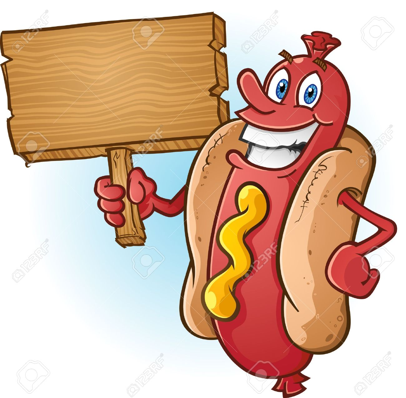 Hot Dog Cartoon Holding A Blank Wooden Sign Royalty Free Cliparts