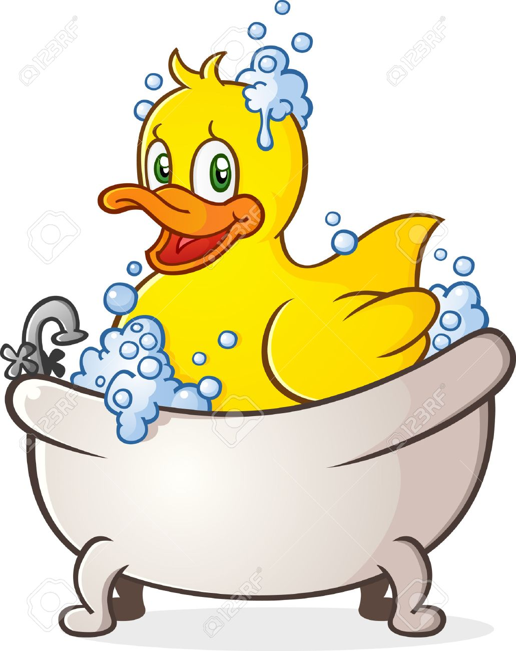 Rubber Duck Bubble Bath Cartoon Character In The Tub Royalty Free ...