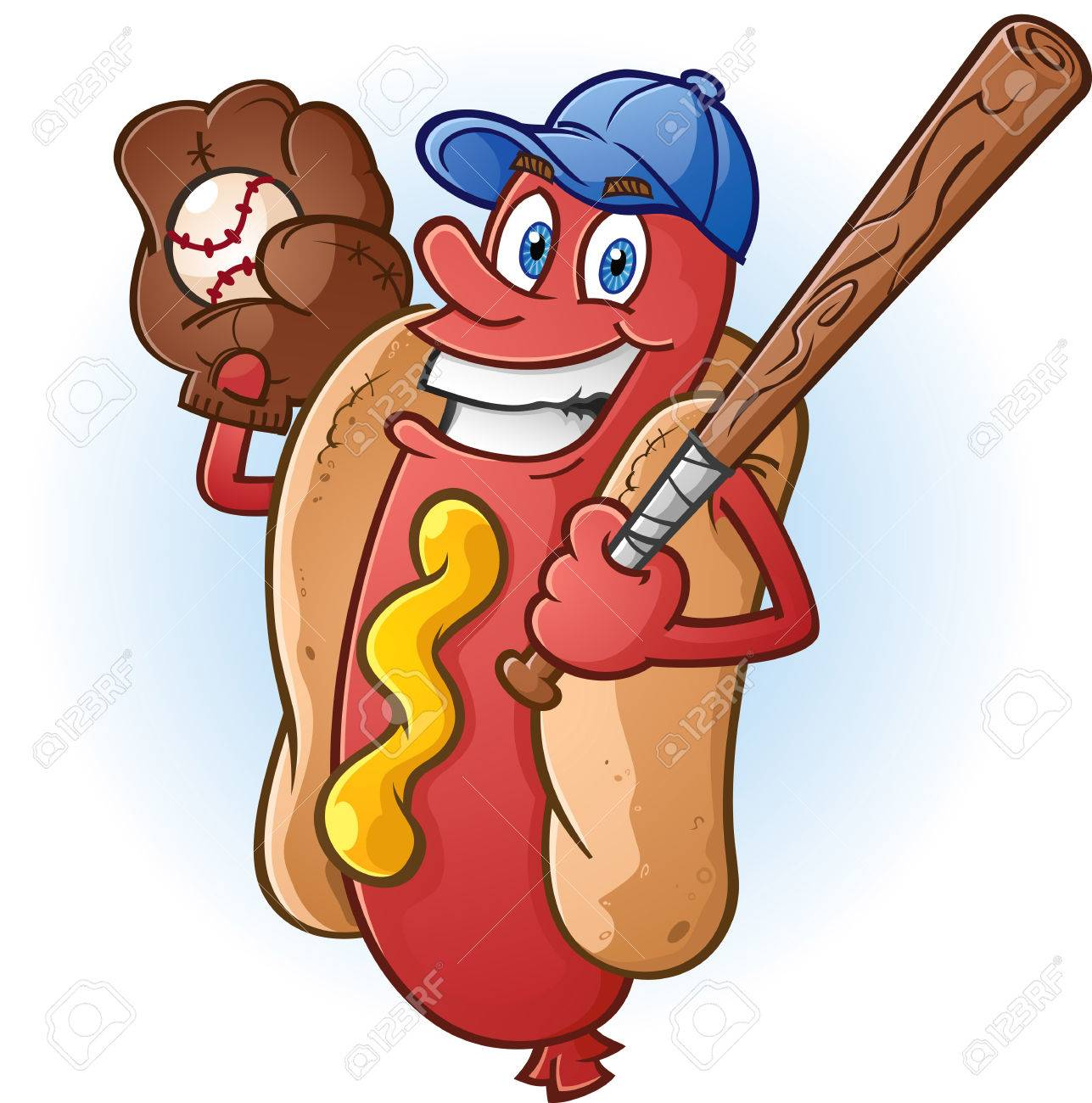 Hot Dog Cartoon Character Playing Baseball Stock Vector - 24194766