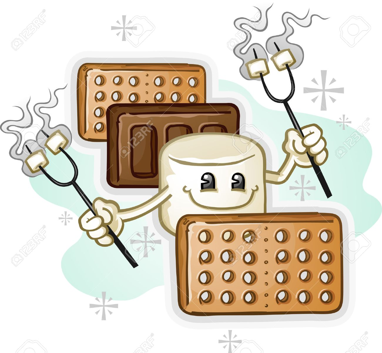 Marshmallow Smores Cartoon Character holding Roasting Sticks Stock Vector - 26740411