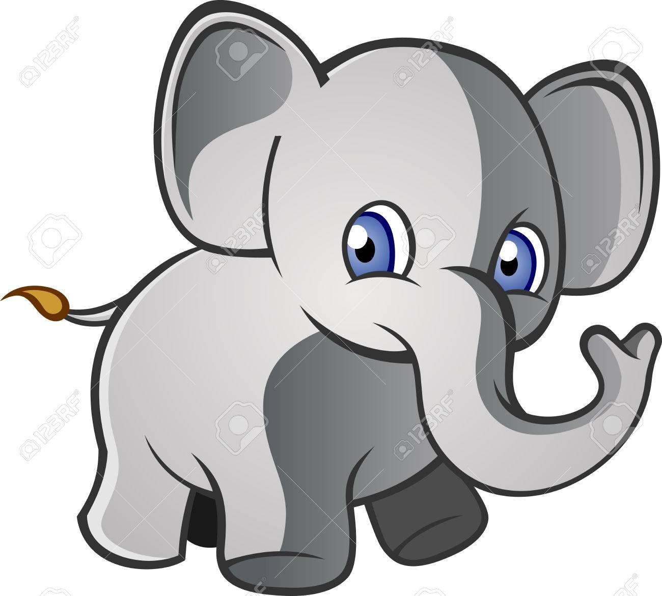 Bebe Elefante De Dibujos Animados Ilustraciones Vectoriales Clip