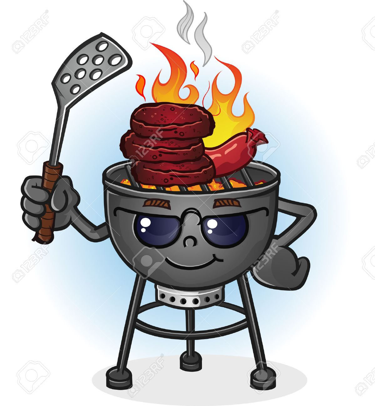 barbecue grill cartoon character with attitude royalty free cliparts