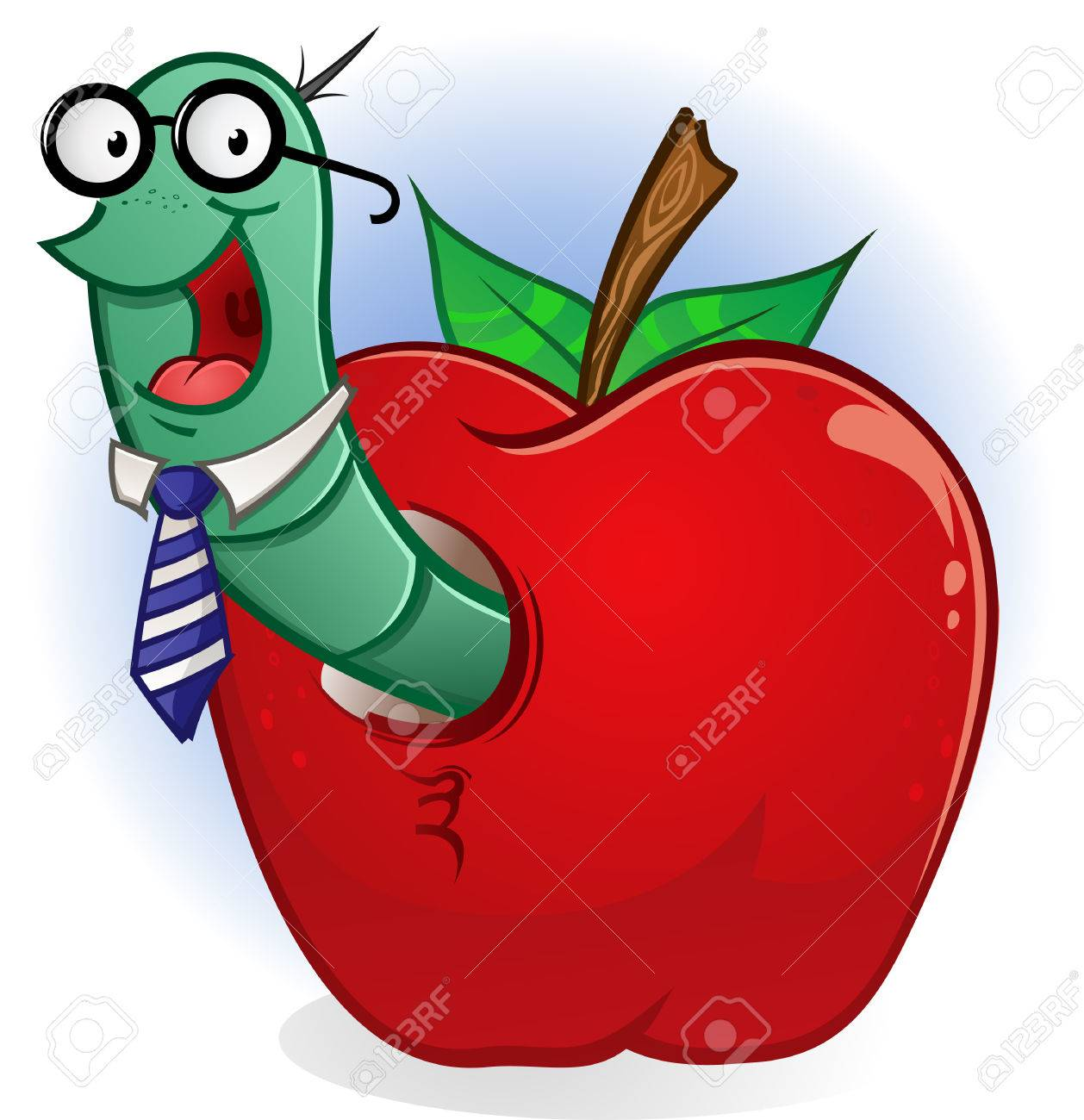 Bookworm Cartoon Character In An Apple Royalty Free Cliparts