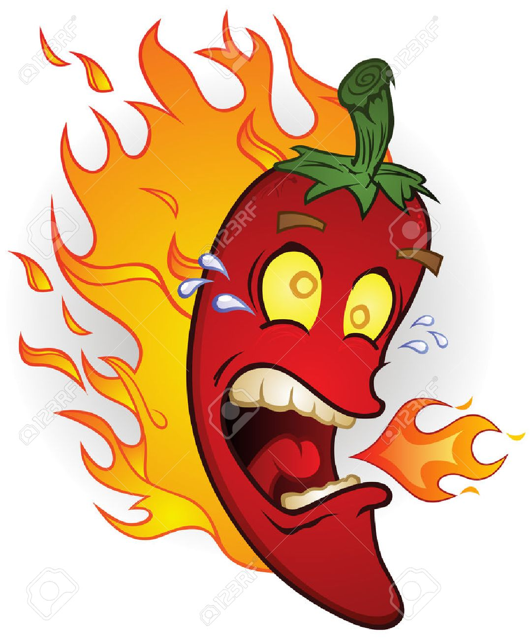 Burning Hot Chili Pepper Cartoon On Fire Royalty Free Cliparts