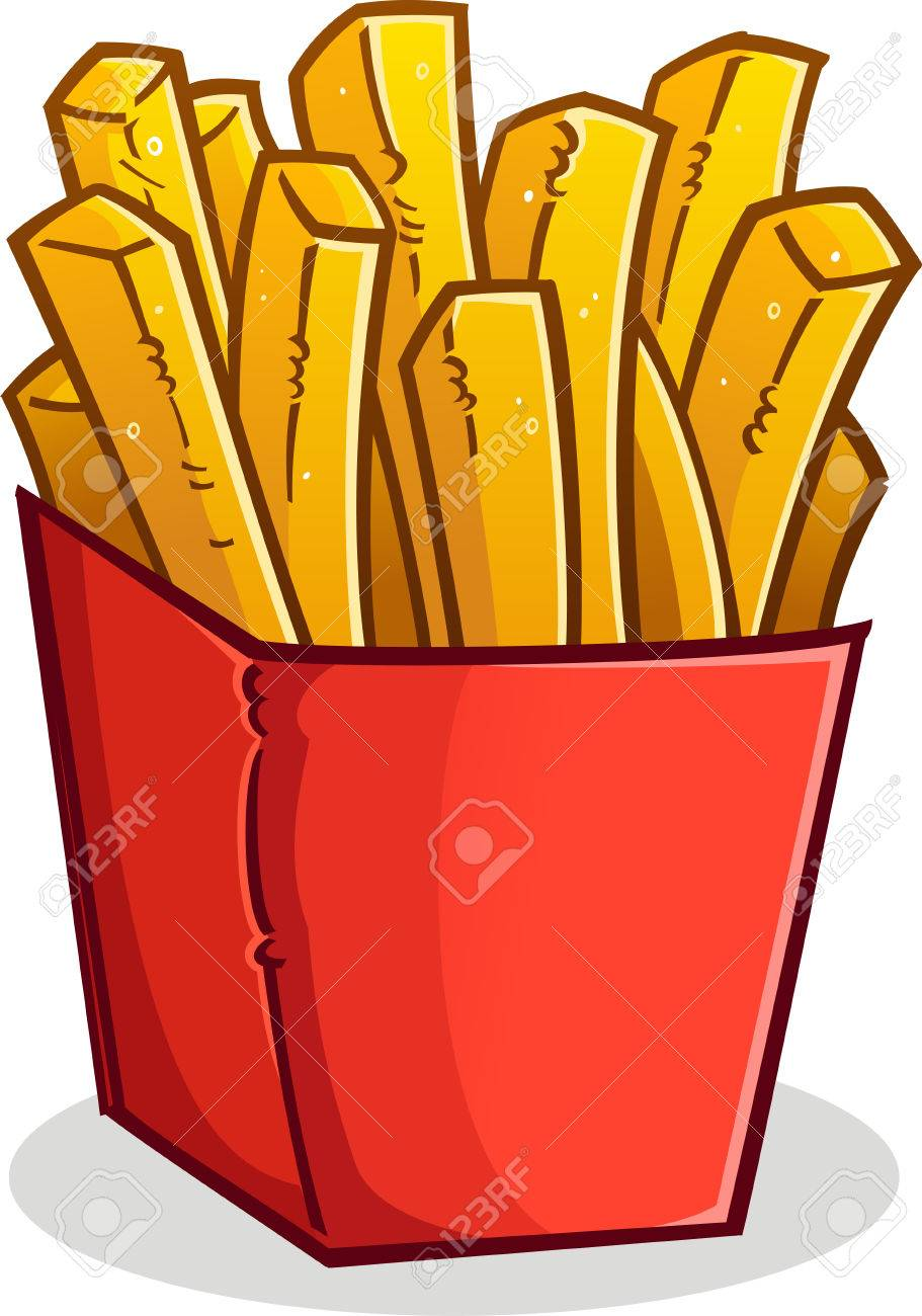 french fries in a red box cartoon royalty free cliparts vectors rh 123rf com cheeseburger french fries clipart french fries clip art images