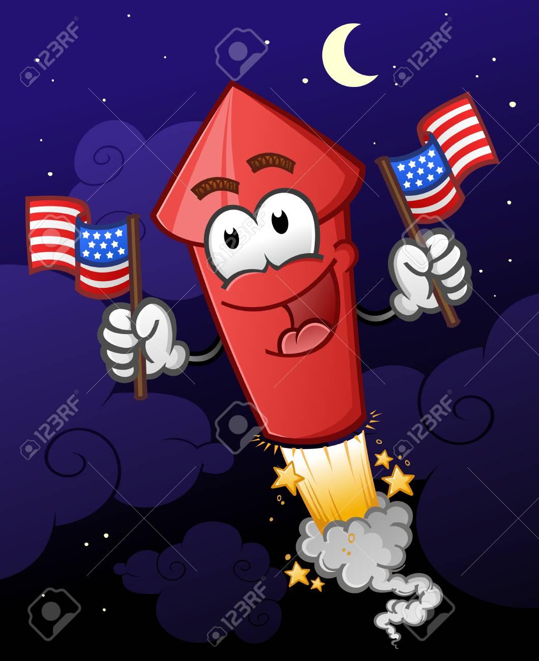 Fuegos Artificiales Con Banderas Americanas Ilustracion De Vector
