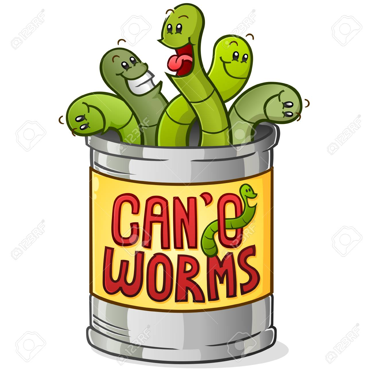 Can of Worms Cartoon Character - 117260512