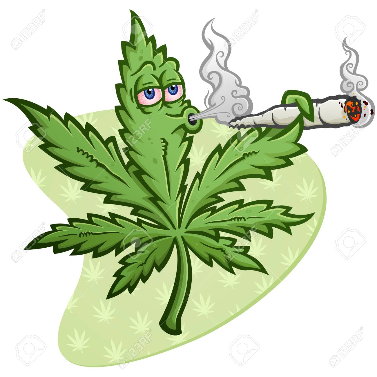 A cheerful marijuana vector cartoon character getting high and smoking a huge rolled up pot joint and blowing smoke - 128474479