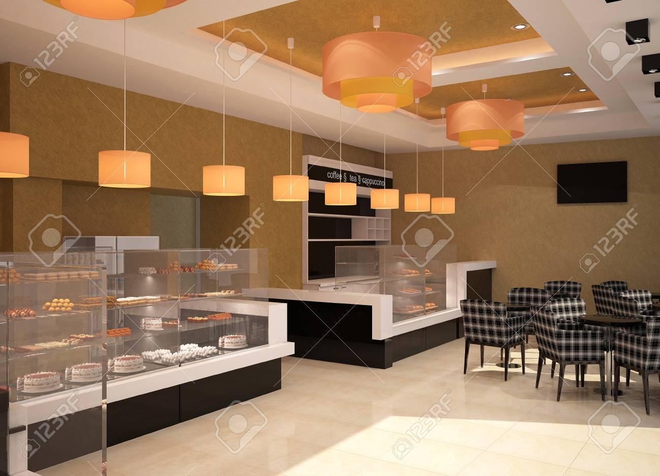 Decor Interieur réalisation 3d d'un décor intérieur de boulangerie banque d'images