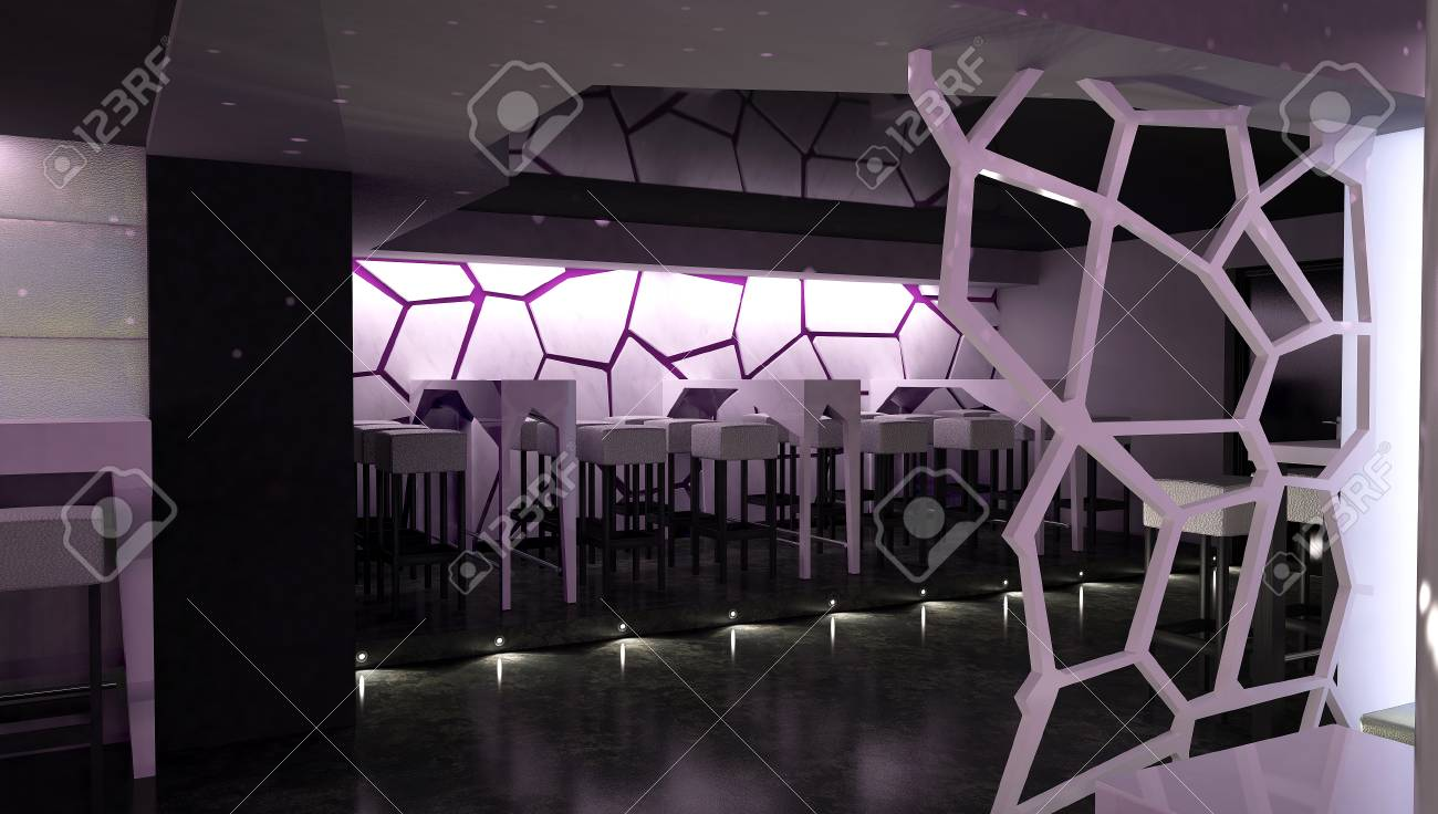 3d Rendering Of Nightclub Interior Design Stock Photo   84754115