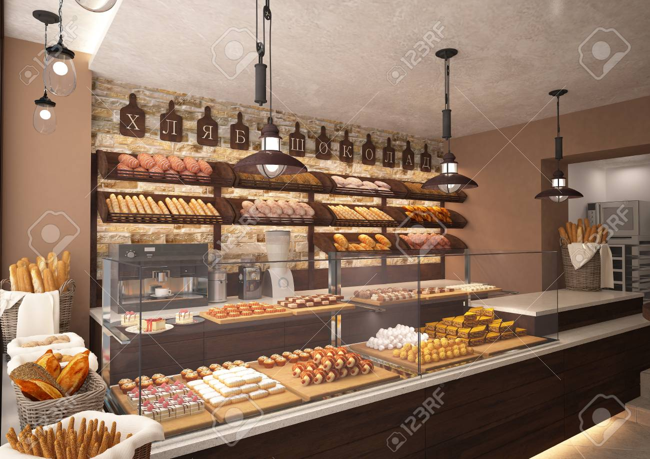 3d rendering of a bakery shop interior design Stock Photo - 83923964 & 3d Rendering Of A Bakery Shop Interior Design Stock Photo Picture ...