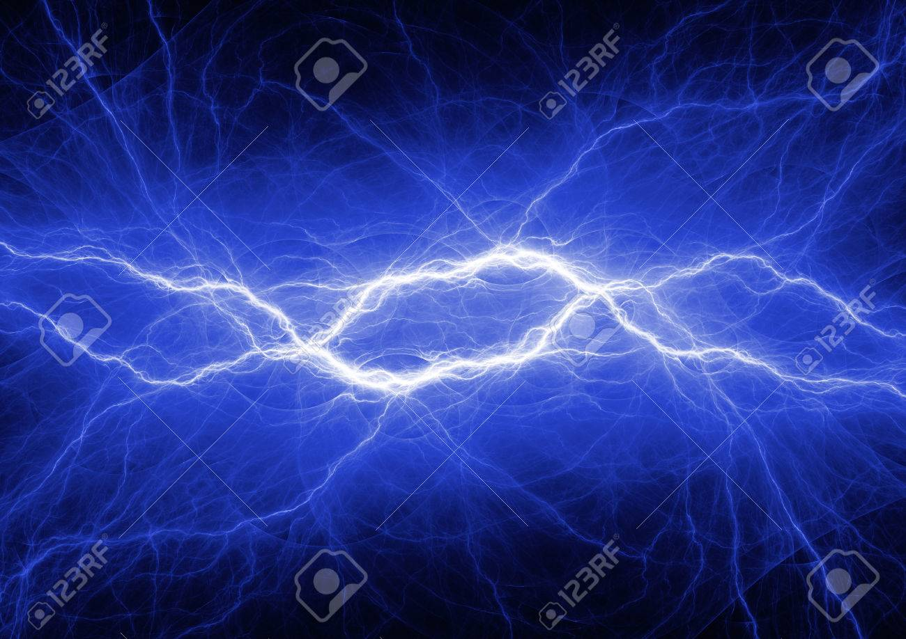 Abstract Blue Lightning Plasma Background