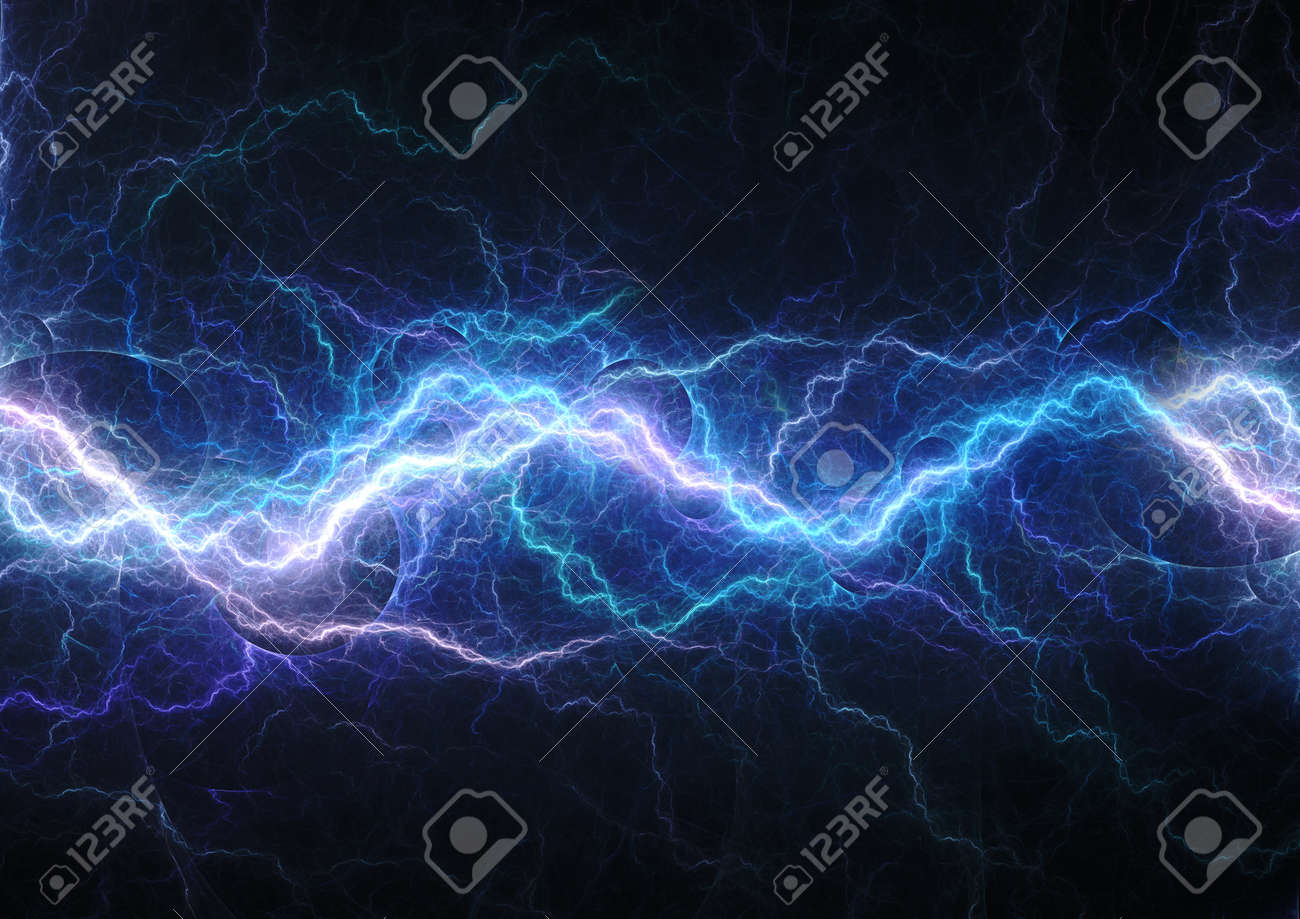 Blue lightning, abstract electrical background - 155074730