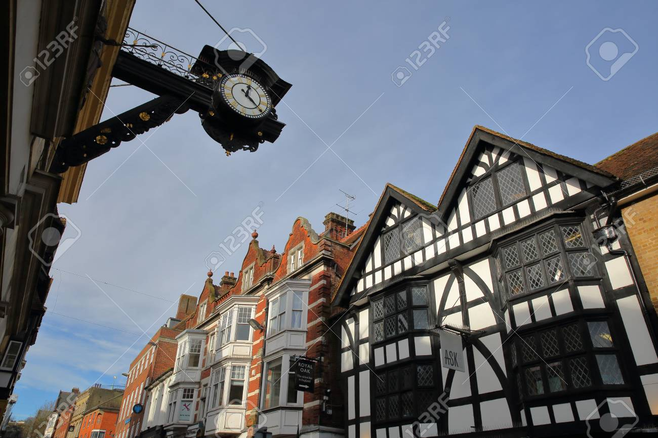 WINCHESTER, UK - FEBRUARY 4, 2017: Exterior facades in the busy