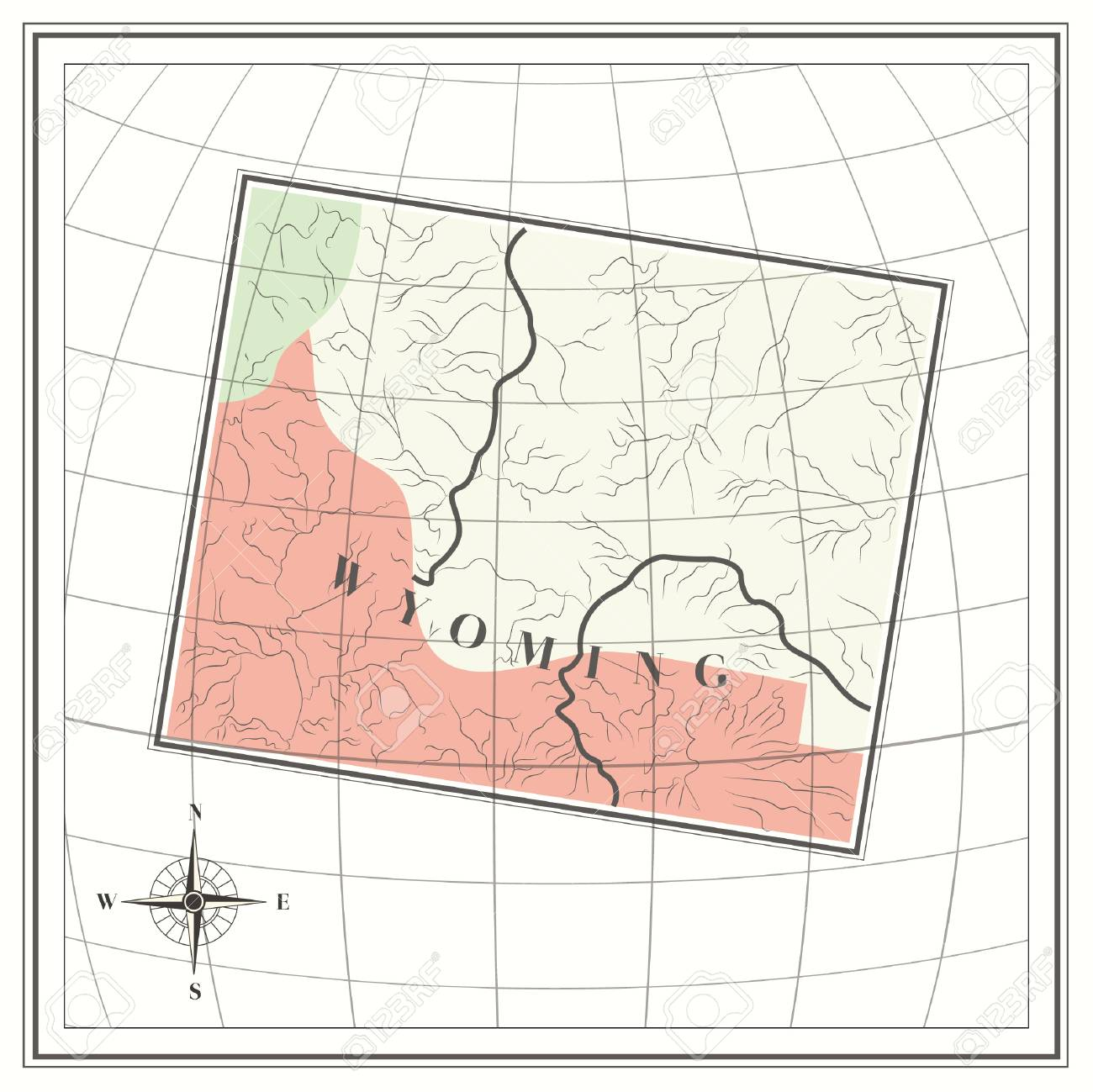 Free Wyoming State Map.Map Of Wyoming State Royalty Free Cliparts Vectors And Stock