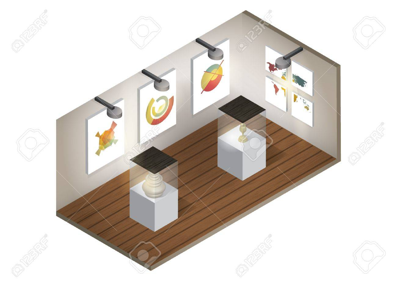 Isometric Art Gallery Interior Royalty Free Cliparts Vectors And