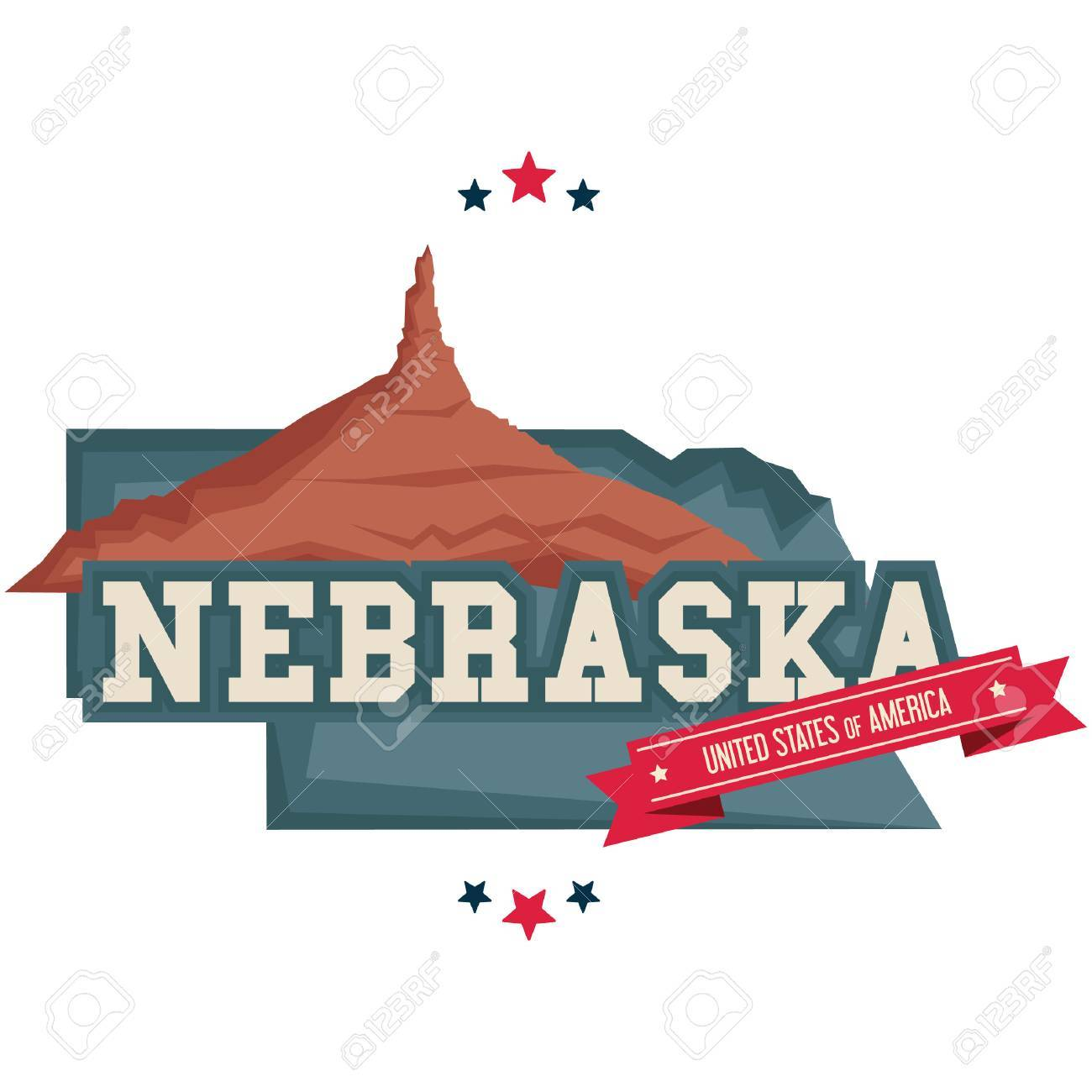 Nebraska Map With Chimney Rock Royalty Free Cliparts Vectors And