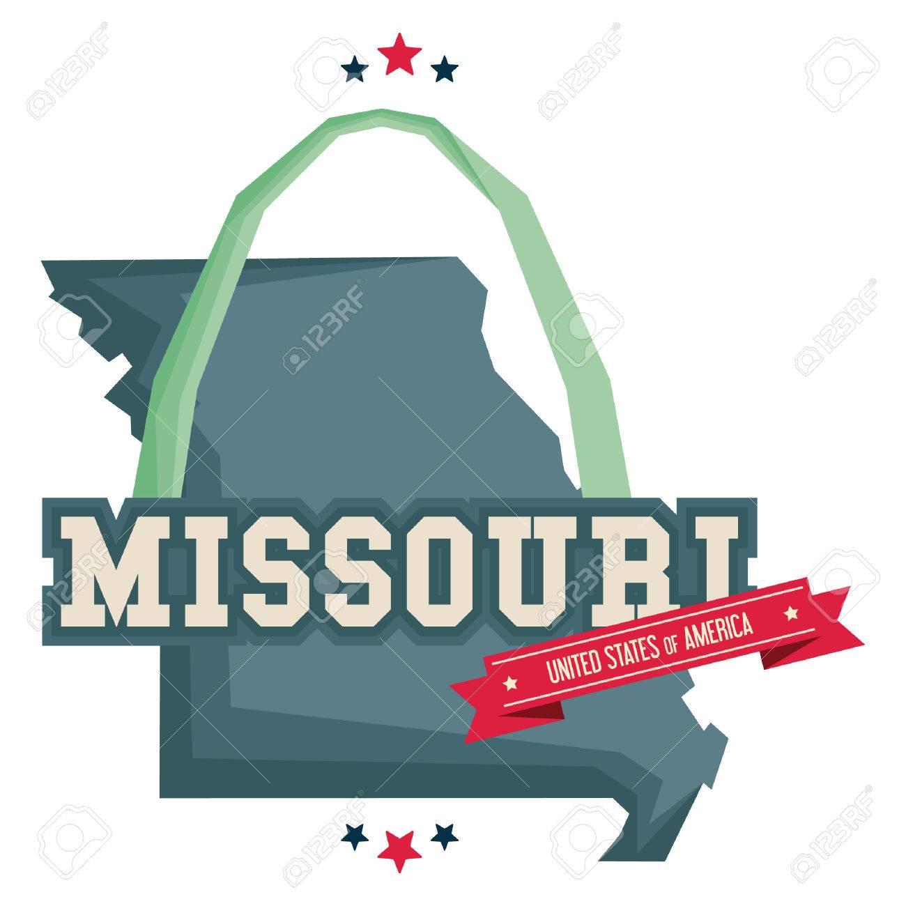 Missouri Map With St Louis Gateway Arch Royalty Free Cliparts - Us map st louis mo