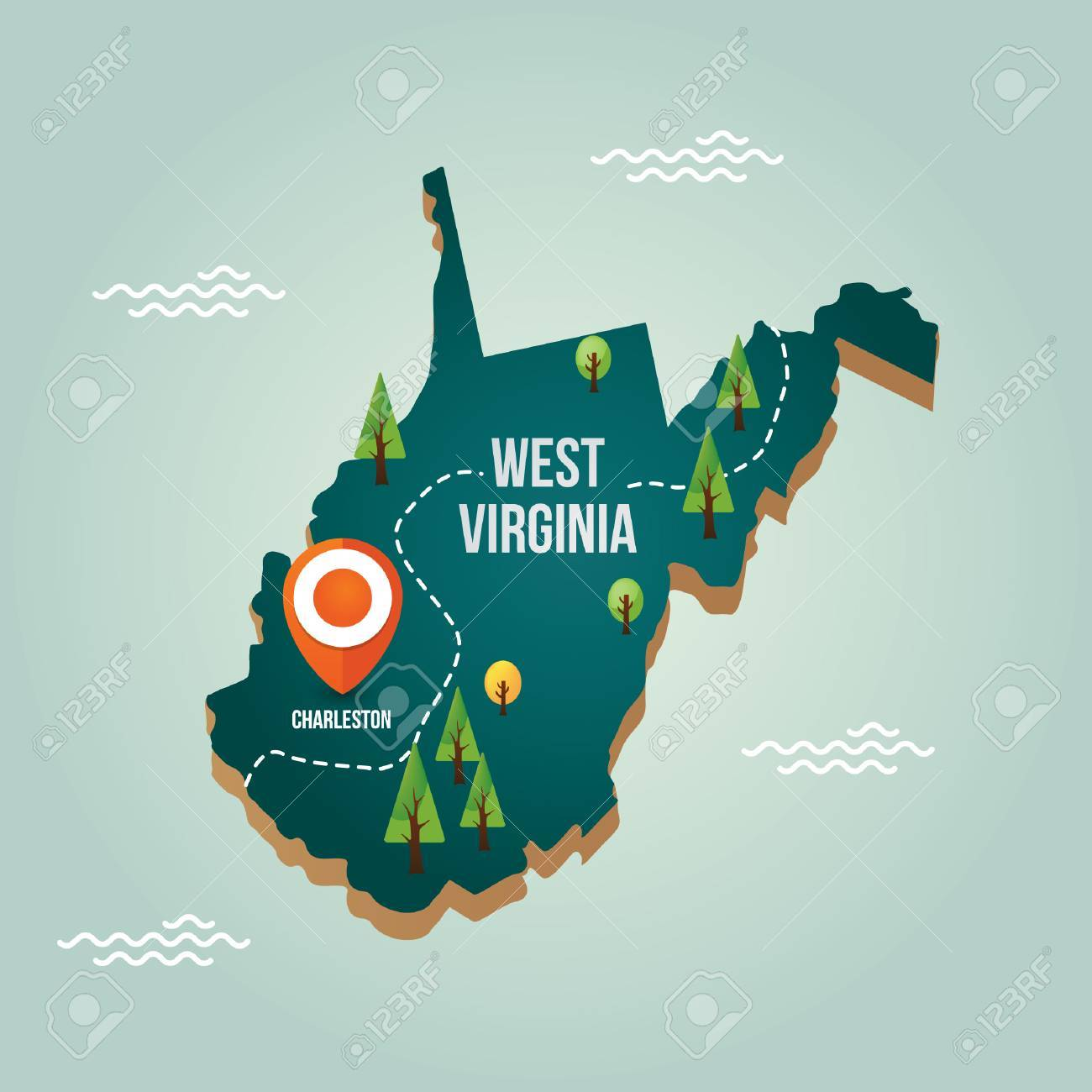 West Virginia Map With Capital City Royalty Free Cliparts, Vectors