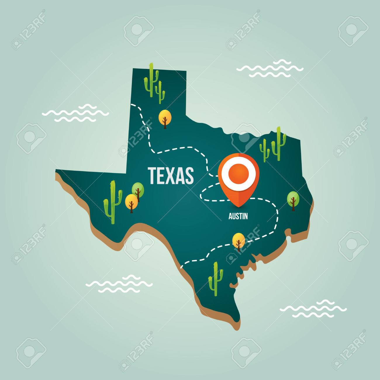 Texas Map With Capital City Royalty Free Cliparts Vectors And