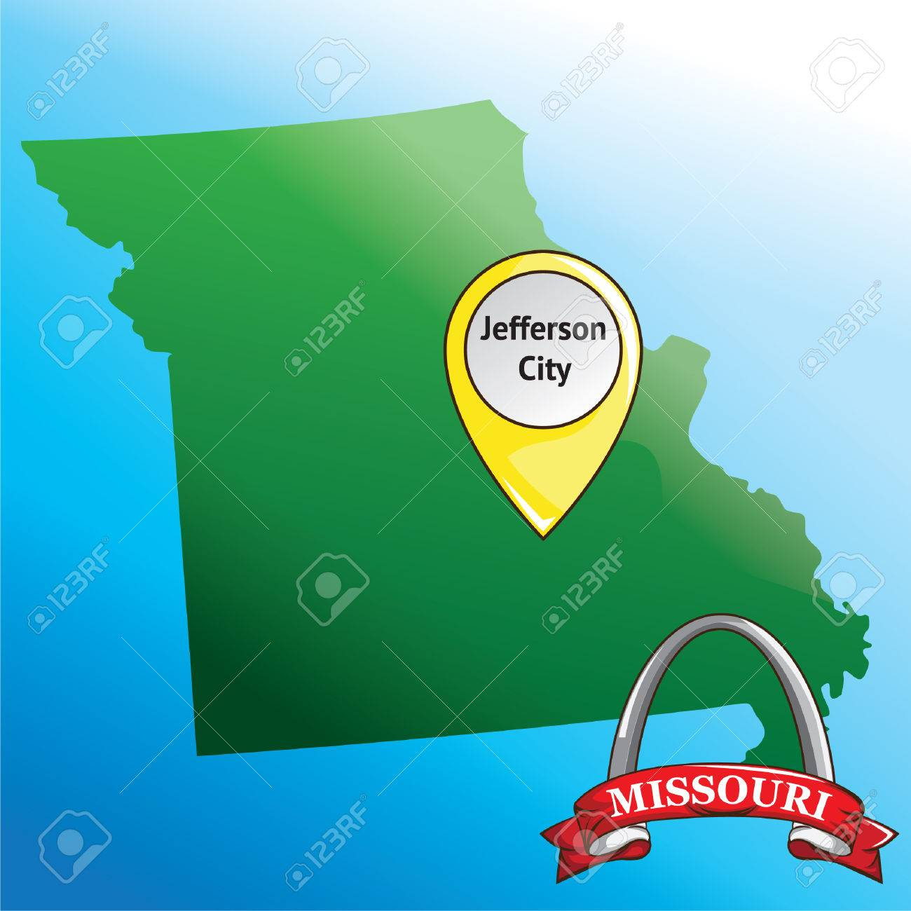 Map Of Missouri State With Gateway Arch Royalty Free Cliparts - Missouri state map usa