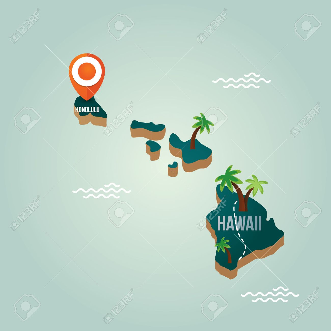 Hawaii Map With Capital City Royalty Free Cliparts Vectors And