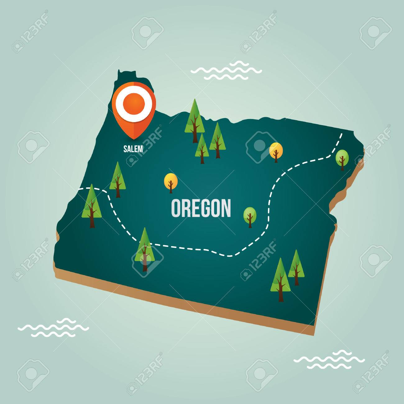 Oregon Map With Capital City Royalty Free Cliparts, Vectors, And